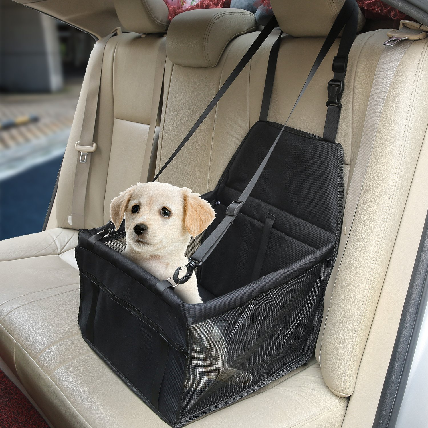 Aandyou Pet Car Booster Seat Breathable Waterproof Pet Dog Car Supplies  Travel Pet Car Carrier Bag Seat Protector Cover with Safety Leash for Small