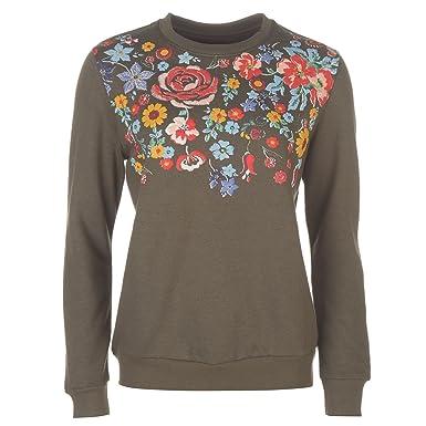 f571fa8fec Golddigga Womens Long Puff Crew Sweater Jumper Pullover Sleeve Neck Print  Floral  Amazon.co.uk  Clothing