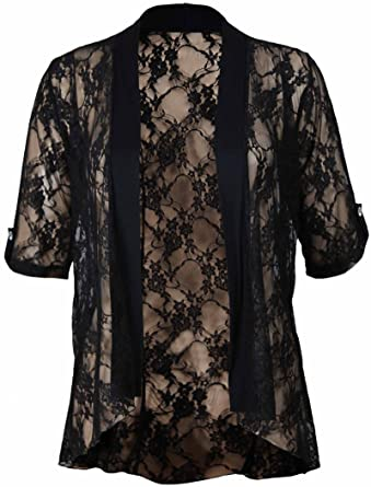 New Ladies Plus Size Floral Lace Open Cardigan Short Sleeve Womens ...