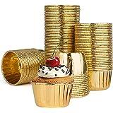 Diealles Shine Caissettes Cupcake, 100 Caissettes Muffins Papier Aluminium pour Cupcakes et Muffins (Or)