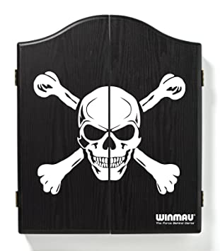 Winmau Printed Black Dartboard Cabinet   Black And White