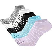 SEAUR 5 Pairs Women's Cotton Toe Socks Stripeed Ankle Five Finger Sock for Girls Comfy Yoga Socks Fashion