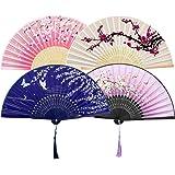 GuKKK Abanicos de Mano Plegable, 4 Pcs Ventilador de Mano Japones, Plegables Florales de Mano Plegable, Hechos a Mano Estilo
