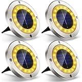 Luce Solare da Giardino, VIRIDI 4pcs 16 Led Faretti Solari Luci da Giardino Esterno Faretto Incasso Calda Solare Terra…