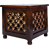 Danish Art Window Beautiful Antique Wooden Stool with Storage for Living and Bedroom Furniture (Brown, 12 Inch)