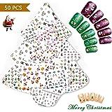 Nicedeco 50 Feuilles (Plus de 1500 pcs)Mix Couleur 3D Nail Art Sticker Autocollant à Ongles bricolage Christmas Noël Pattern