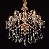 MW-Light 482013105 Lustre Royal à 5 Lampes Bougies Style Baroque en Métal couleur Or décoré de Pampilles en Cristal pour Sall