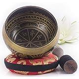 Silent Mind ~ Campana Tibetana con Accessori ~ Modello Antico ~ Con Battente a Doppia Superficie e Cuscino di Seta ~ Favorisc
