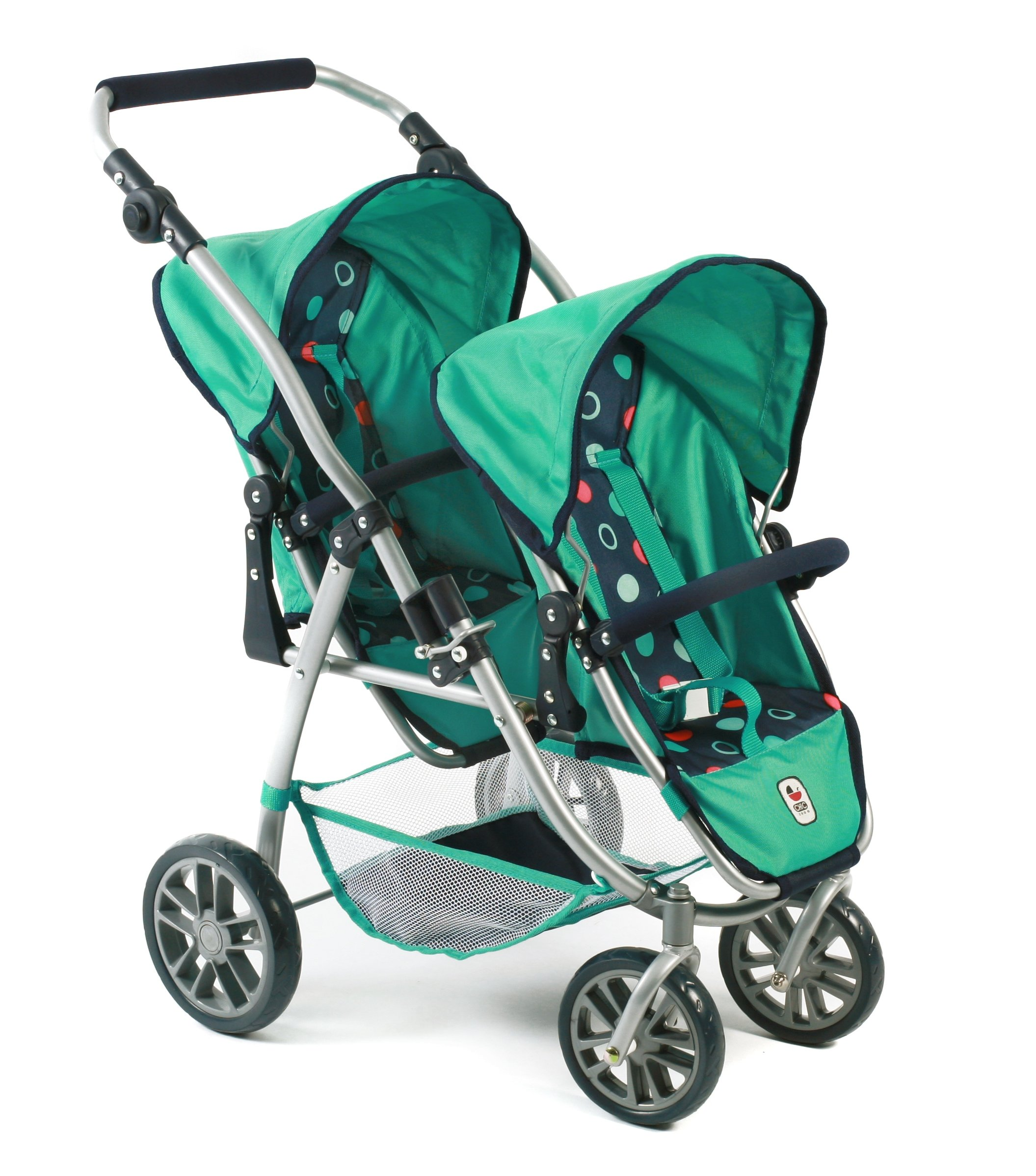 Bayer Chic 2000 689 21 Doll pram, Mint Bayer Chic Modern twin pushchairs with two removable and to be in a lying position adjustable Sport seating The seat of your Twin trolley are detachable and can be in multiple directions he tandem Buggy has a height-adjustable slider from 55 - 33 cm 3