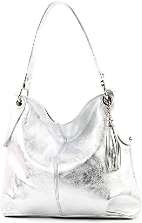 modamoda de - T185 - ital. Damen Schultertasche aus Leder
