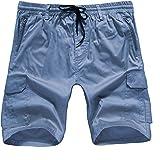 ELETOP Mens Cargo Shorts 100% Cotton Summer Plain Work Shorts Lounge Casual Combat Shorts with Adjustable Drawstring