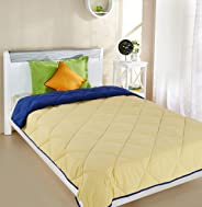 Amazon Brand - Solimo Microfibre Reversible Comforter, Single, Yellow and Blue