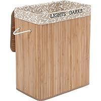 SONGMICS LCB62Y Panier à Linge Pliable en Bambou, avec 2 Compartiments, Couvercle et Sac Amovible pour Le Linge, Couleur…