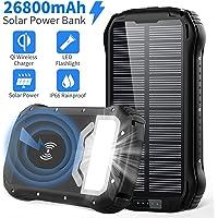 Chargeur Solaire 26800mAh Batterie Externe Solaire QI Sans Fil Powerbank Solar avec 3 Voies Entrée et 4 Sorties de Sortie Max 5V/3,1A Batterie Solaire Externe intégrée 18LED Pour Randonnée Camping