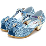 Monissy Niña Lazo Zapatos de Vestir Princesa Elsa Barato Tacón Altos Lentejuelas Antideslizante Sandalias de Disfraz Carnaval