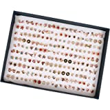 Chocozone Pack of 100 Earring Set Artificial Jewellery for Girls Stud Earrings for Women Birthday Gift For Girls (Metal)