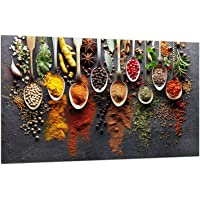 TMK   Piastra di copertura per piano cottura a induzione  80 x 52 cm  1 pezzo  universale per piastre di cottura protezione antischizzo  tagliere in vetro temprato  decorazione Colore Spezie