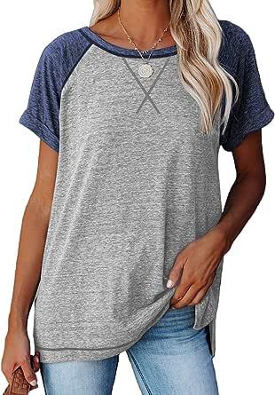 Adisputent Damen T-Shirt Kurzarm Shirt V-Ausschnitt Sommer Oberteile Baumwolle Einfarbig Schwarz Lose Bluse Lockere Shirts Basic Tee Casual Tops für Frauen Mädchen