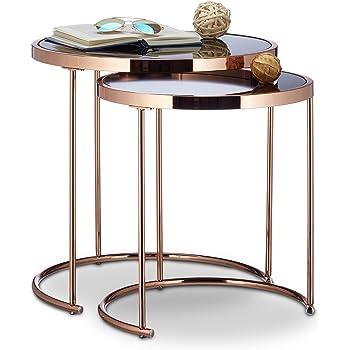 Relaxdays Nesting Tables Round, Chrome Frame, Set of 2, Modern ...