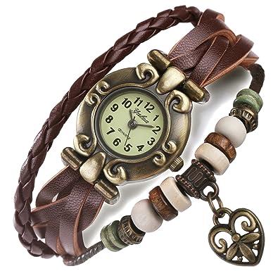 Armbanduhr damen leder braun  ANEWISH Damen und Herren Braun Leder-Armband, Schöne Armbanduhr ...