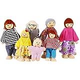 Smibie Puppenfamilie von 7 Puppen Kinderspielzeug aus Holz (A2)