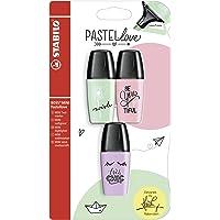 STABILO BOSS MINI Pastellove Evidenziatore colori Rosa Antico, Verde Menta, Glicine - Blister da 3, 3 Pezzi