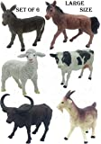 SaleON 6pc Large Size Farm-Life Farm Animal with Detailing , Children Puzzle Early Education Gift Mini Jungle Animal Toy…