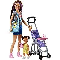 Barbie Famille coffret poupée Skipper baby-sitter et sa poussette avec figurine de fillette brune et accessoires, jouet…