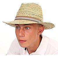 Black Jungle Alma Havanna - Cappello di paglia naturale, stile panama, per esterni, estivo, cappello