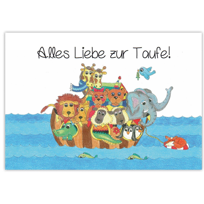 Spruch Taufe Karte.Arche Noah Mit Tieren Gluckwunsch Zur Taufe Alles Liebe Zur Taufe Grusskartenkaufen De
