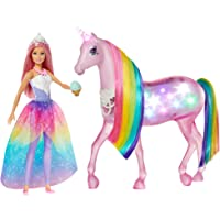 Barbie GWM78 - Dreamtopia Magisches Zauberlicht Einhorn mit Berührungsfunktion, Licht und Sound, Puppen Spielzeug und…