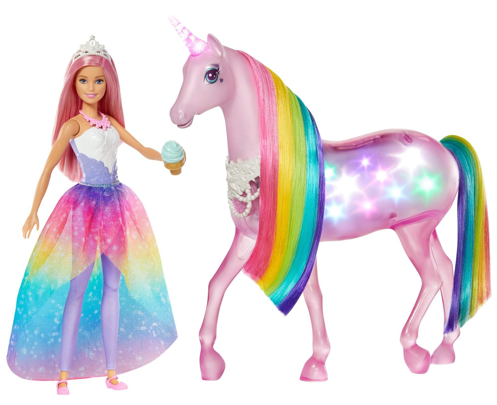 Barbie – Dreamtopia Muñeca con Pelo Rosa y su Unicornio Luces Mágicas (Mattel FXT26)