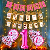 Party Propz Pink 1st Birthday Decoration for Baby Girl with Warm Led Light Set I Am One Banner, 1-12 Month Milestone Banner,