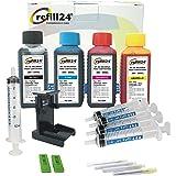 refill24 Kit de recharge pour cartouches d'encre HP 305, 305 XL Noir et couleur avec clip et accessoires + 400 ml d'encre