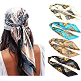 WELROG 4 Pack Pañuelos Cabeza Mujer - 90 * 90 cm Bandanas Grandes Pañuelos Cuadrados como seda Bufanda de pelo Mancha Diadema