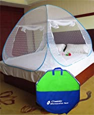 Classic Mosquito Net Foldable King Size/ Queen Size Double Bed(Blue) (Size-Double)