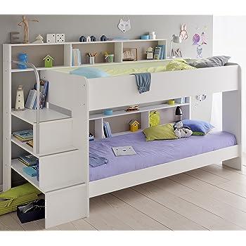 90x200 Kinder Etagenbett Weiß/grau mit Bettkasten Treppe