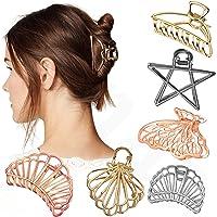 Sanas Hair Accessories 6 Pcs Hollow Hair Clips Medium Metal Clutchers Golden Silver Bronze Butterfly Girls and Women…