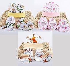 My NewBorn Baby Cotton Mitten Booty Set (MN-C3-MITTEN-SET) - Pack of 3