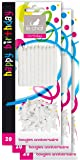 Le Chat 1196104 Lot de 3 packs de  20 bougies anniversaire + 20 bobèches -  blanc