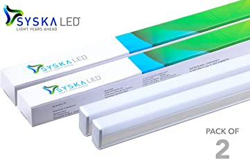 Syska 22 Watts 3 in 1 T5 LED Tube Light (Pack of 2)- Changes in 3 Colours on Switching On & Off,Cool White