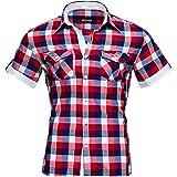 Reslad–Camicia da uomo maniche corte a quadri Camicia Tempo Libero Aderente Camicia a quadretti RS 7065