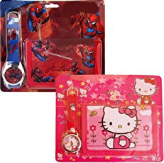 GRAPPLE DEALS New Cartoon Characters The First Kids Girls, Boys Wrist Watch with Purse Wallet Set for School Going Baby Girls and Boys (Pack of 2 )