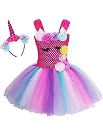 34546400e AmzBarley Unicornio Vestidos Princesa Niña Fiesta de Tul Tutu con Encaje de  Flor sin Mangas,