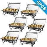 Z ZELUS 6Pcs 9L Chauffe-Plats en Acier Inoxydable, Chafing Dish INOX, Buffets Chauffants Chauffe Plat Rectangulaire, Bain-Mar