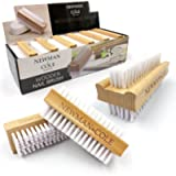 Wooden Nail Brush, Double-Sided Nail Scrubbing Brush with Firm Plastic Bristles (Set of 3)