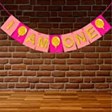 WOBBOX First Birthday Party Banner ( I am One ) Pink and Gold , Party Decoration Set of one