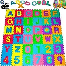 Tappeto Puzzle | 36 quadrelli | 3,68 m² | con 26 numeri e 10 lettere colorati | in morbida gomma EVA resistente, isolante, lavabile - Tappeto da gioco per bambini Superficie gioco Tappeto per giocare Tappeto colorato