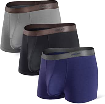 Separatec Men's Boxers Briefs, Men's Trunks Underwear with Separated Pouches Bamboo Boxer Shorts Breathable, Soft, Comfortable with Fly 3 Pack Fitted Undershorts