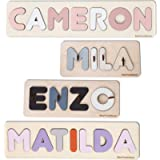 Personalized Name Puzzle with Pegs, Baby Shower Gift, Wooden Montessori toys with Shapes, Newborn Nursery Decor, Custom…